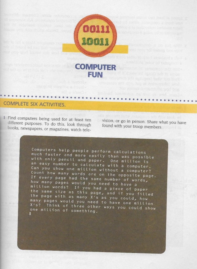Page 101 of Girl Scout Badges and Signs, 1990. The first of two pages detailing requirements for the